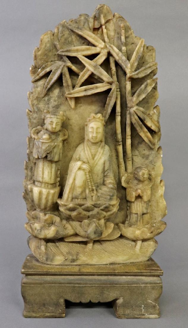 Qing Dynasty Carved Soapstone Guan Yin Deity
