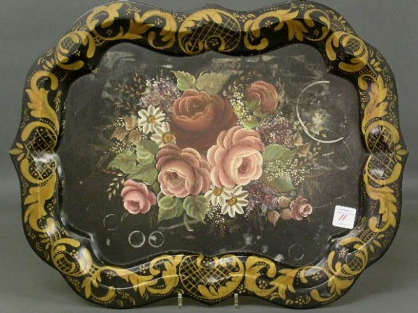 """11: Tole tray with hand painted decoration. 22""""x29"""""""