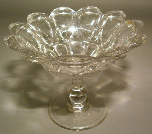 """13: Pressed clear glass compote. 8.5""""h.x11""""dia."""