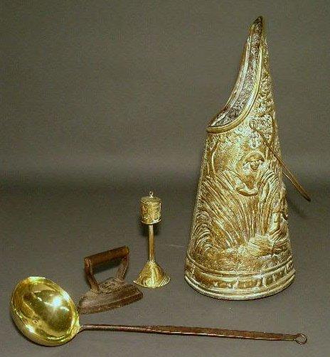 """16: Brass and iron dipper 20.5""""l., brass bucket 21.25""""h"""