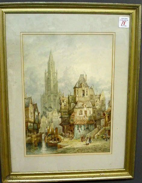 """18: French watercolor of a town signed """"Honfleur France"""