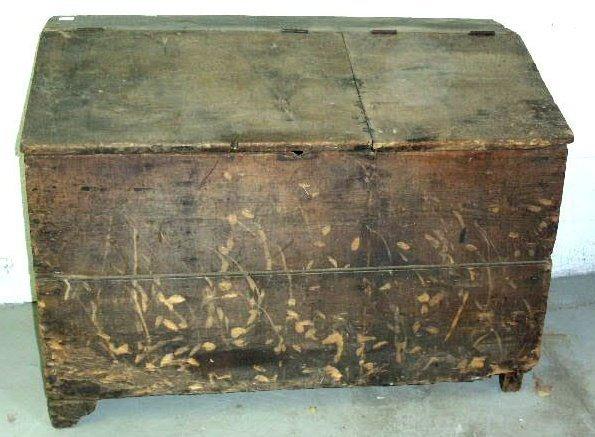 "20: Pine grain box with slant lid. 34.5""h.x48""w.x25""d."