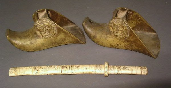 "21: Pair of Japanese brass stirrups, 11""h.x4.5""w.x5""d.,"