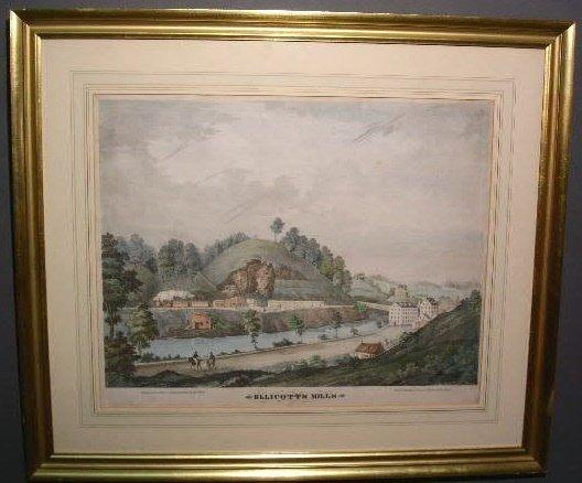 "23: Framed lithograph by Ed Webber, ""Ellicott's Mills"""