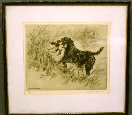 """26: Print of a retriever signed and numbered """"23/75 Hen"""