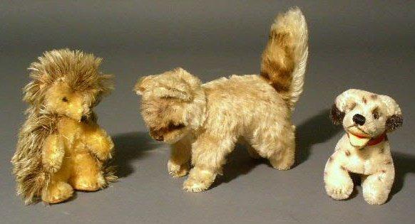 "27: Three Steiff animals- chinchilla 5""h., hedgehog 4.5"