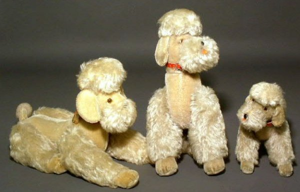 "29: Three Steiff mohair poodles, ""Snobby"", no button ha"