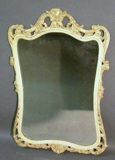 """30: French Provincial style mirror, white. 44""""x28"""