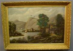 315 Oil on canvas painting late 19thc of a continen