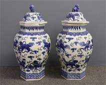 Large Pair of Chinese Porcelain Temple Jars