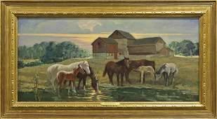 "Charles Hargens O/C, ""Evening, Bucks County"""