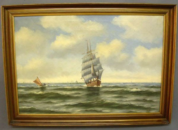 8: Oil on canvas painting of a clipper ship under sail