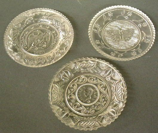 13: Three cup plates- eagle, Henry Clay and butterfly.
