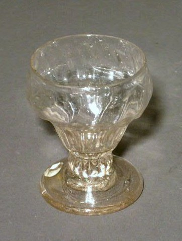 14: Early blown glass master salt with ribbed detail. 3