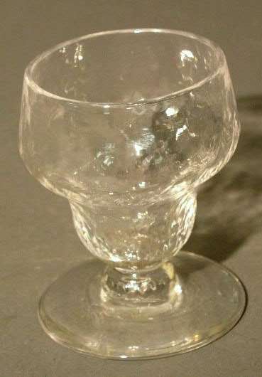 "16: Early blown glass master salt. 3.25""h.x2."" diam."
