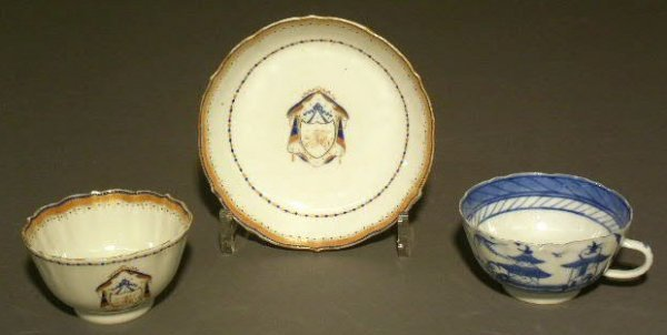 """17: Canton teacup, 2""""h., and a Chinese export handleles"""