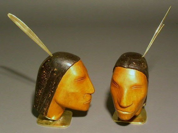 26: Pair of Haggenauer carved wood Indian scouts with b