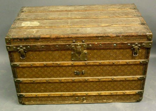 """60: Louis Vuitton trunk with tray. 22.5""""h.x35.5""""l.x21""""d"""