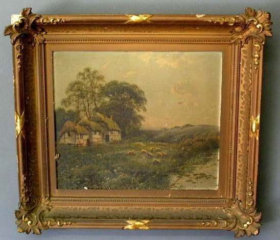 9: Oil on board landscape painting, c.1890, with sheep