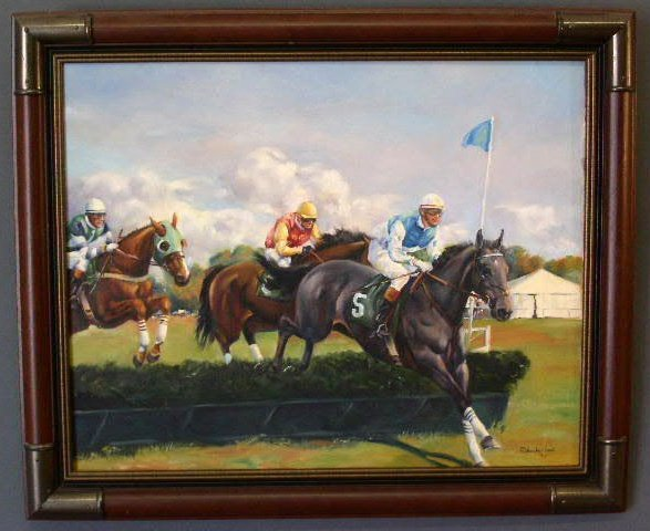 16: Oil on canvas painting of a point-to-point race at