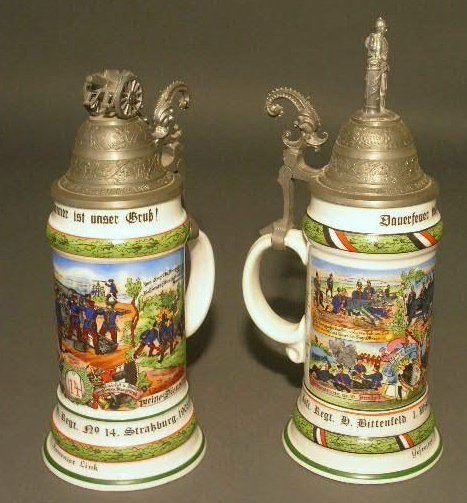 17: Two German regimental beer steins with lithopane bo