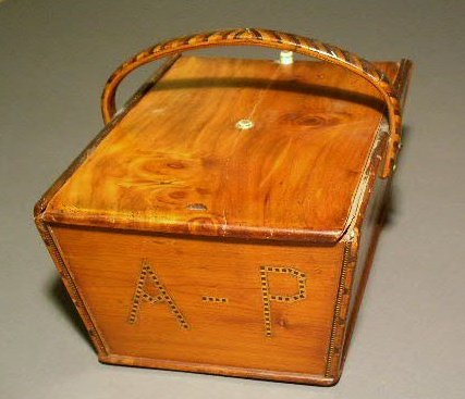 "22: Cedar wood sewing box with sliding lid initialed ""A"