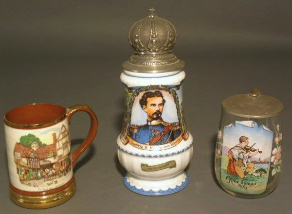 "26: Three mugs/steins, glass and ceramic. largest 10""h."