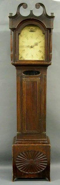 453: Connecticut tall case clock, c.1810, with paint de
