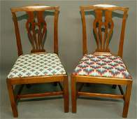 462 Pair of Chippendale walnut side chairs c1790