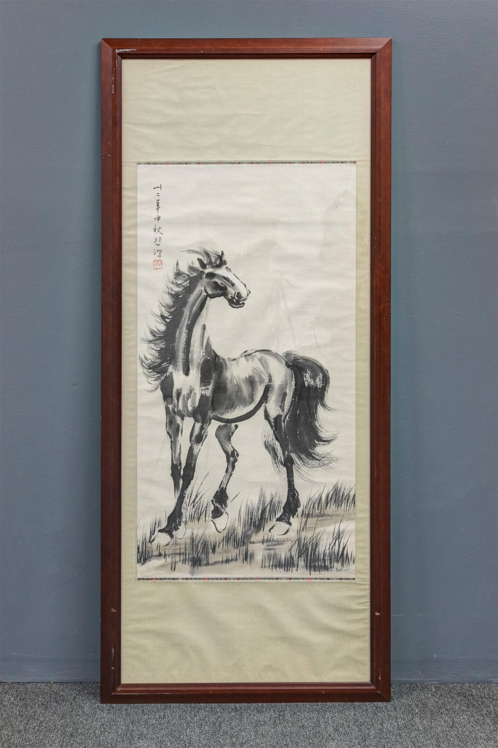 Large Chinese Watercolor Horse Painting