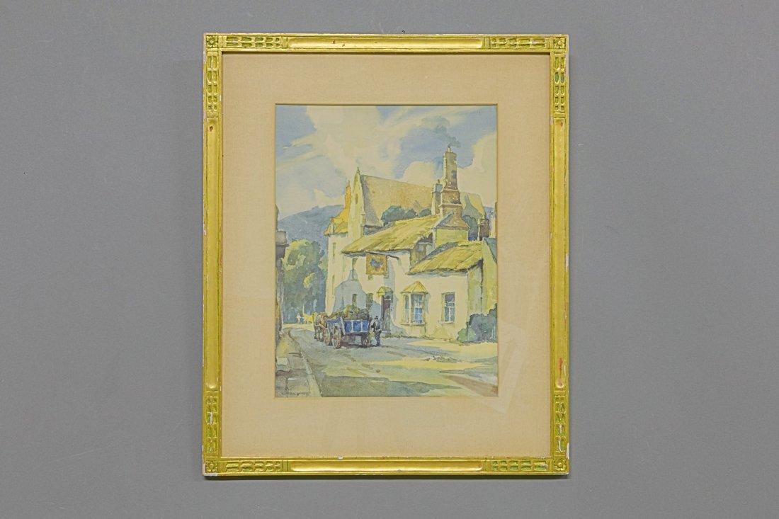 Watercolor of Village Scene