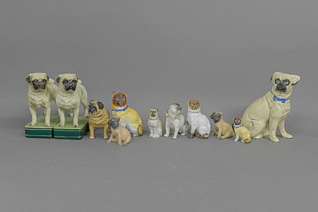 Collection of Ceramic/Porcelain Pug Dogs