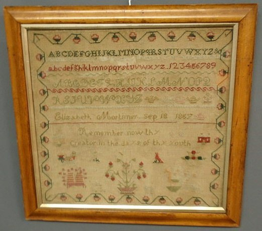 10: Sampler, silk on linen wrought by Elizabeth Mortime