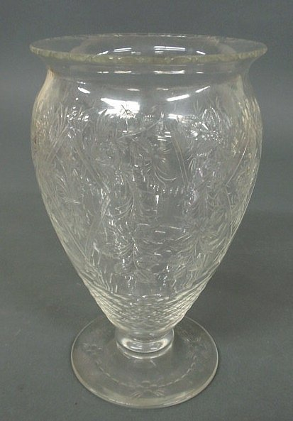 "11: Intaglio cut glass centerpiece vase. 10.25""h."