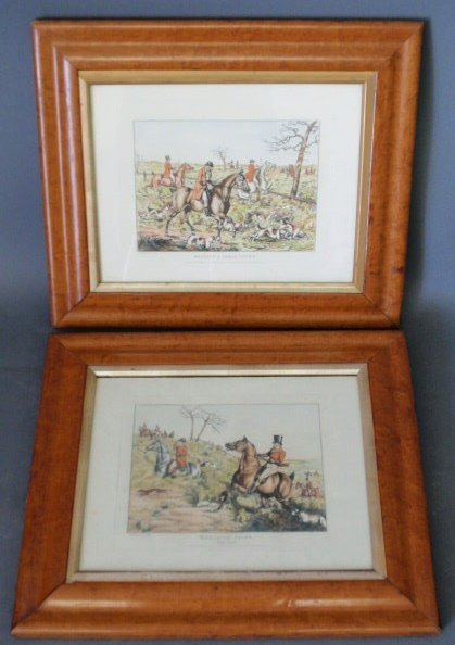"12: Two sporting prints in bird's-eye maple frames, ""Br"