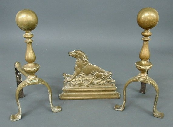 "13: Pair of brass andirons with ball tops 13.5""h. and a"