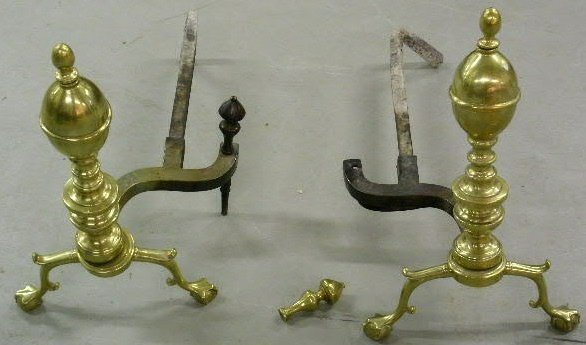 "20: Pair of Chippendale style brass andirons. 21""h.x13"""