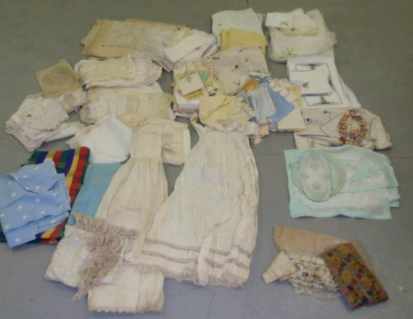 22: Box lot of linens- some colored and embroidered exa