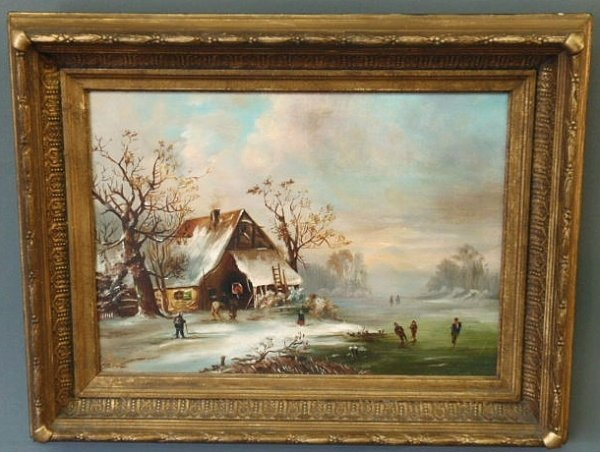 "27: Oil on canvas painting of ice skaters signed ""E.W."