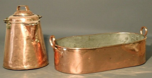 "30: Oval copper pan 7.5""h.x21""l.x11.5""W. and a copper c"