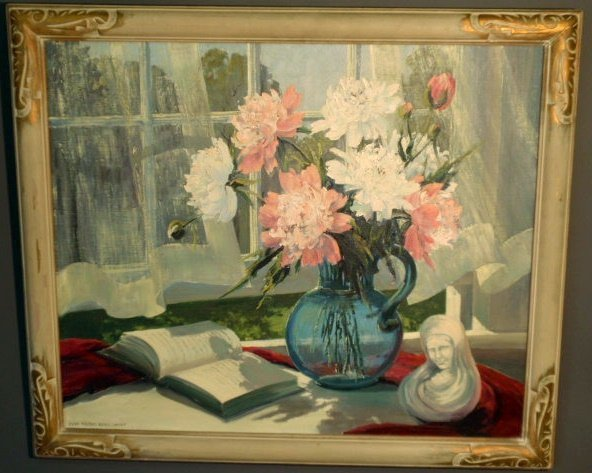 35: Oil on canvas still life painting of flowers signed