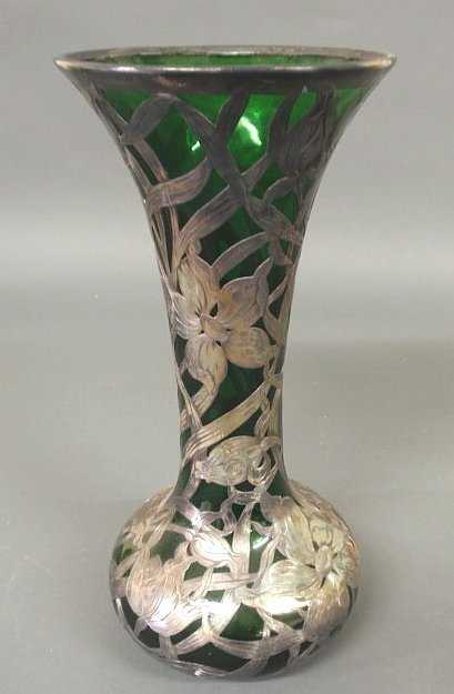 250 Green Glass Vase With Sterling Silver Overlay C1