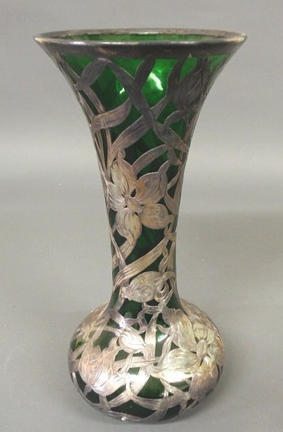 250: Green glass vase with sterling silver overlay, c.1