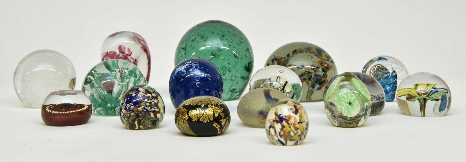 Sixteen Glass Paperweights