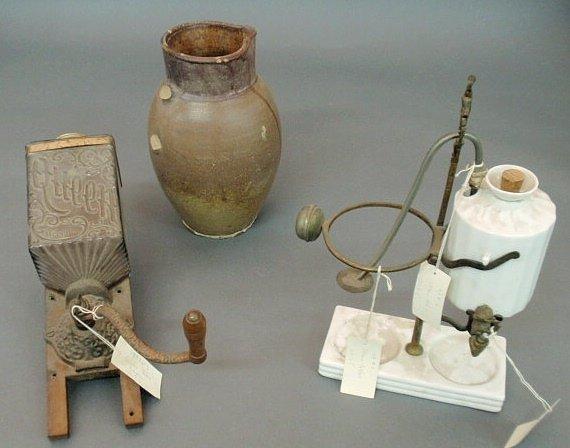 """16: Glass grinder marked """"Queen, Brighton"""", stoneware p"""