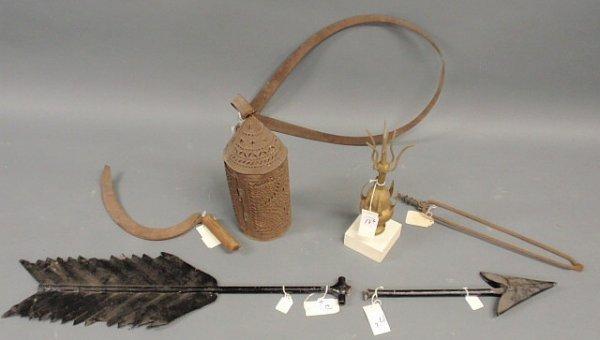 17: Six metalware items- tongs, caliper, scythe, tin la