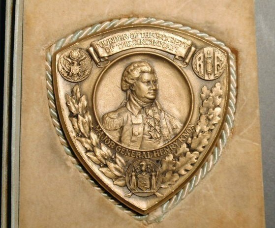 "21: Society of the Cincinnati bronze plaque ""Major Gene"