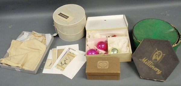 29: Misc. box lot- Christmas ornaments, invitation card