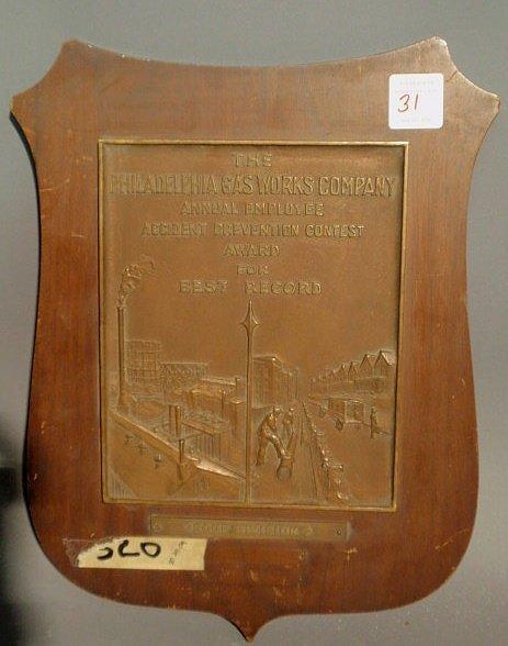"""31: Bronze plaque """"The Philadelphia Gasworks Company…""""."""