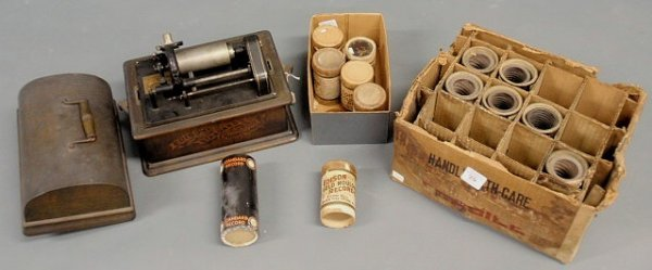 36: Edison Standard Phonograph with box of rolls. 10.25